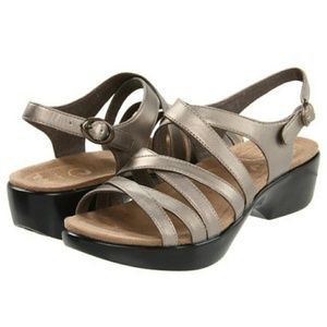 DANSKO Dani Pewter Leather Strappy Sandals